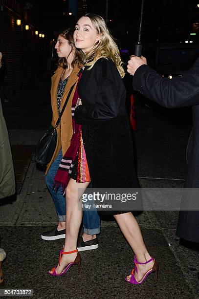 Actress Saoirse Ronan enters the 'The Late Show With Stephen Colbert' taping at the Ed Sullivan Theater on January 12 2016 in New York City