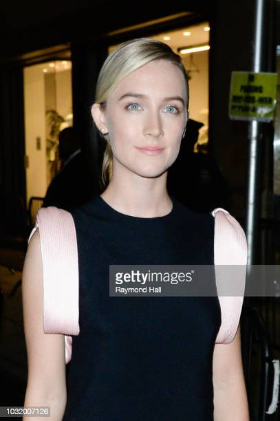 Actress Saoirse Ronan is seen arriving at Calvin Klein SS19 fashion show during New York Fashion Week at Calvin Klein NYC Headquarters 205 West 39th...
