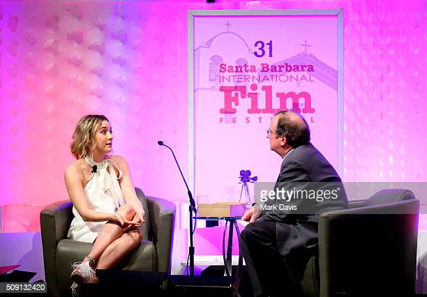 Actress Saoirse Ronan of Brooklyn speaks with Moderator Pete Hammond at the Outstanding Performer of the Year ceremony at the Arlington Theater...