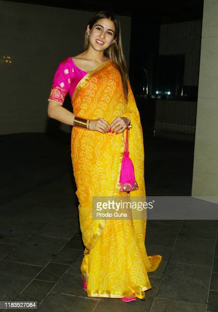 Actress Sara Ali Khan attend the Diwali Bash hosted by Actor Jackky Bhagnani on October 25 2019 in Mumbai India