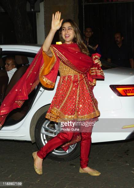 Actress Sara Ali khan attends the Diwali Bash hosted by Actress Sonam Kapoor on October 27 2019 in Mumbai India