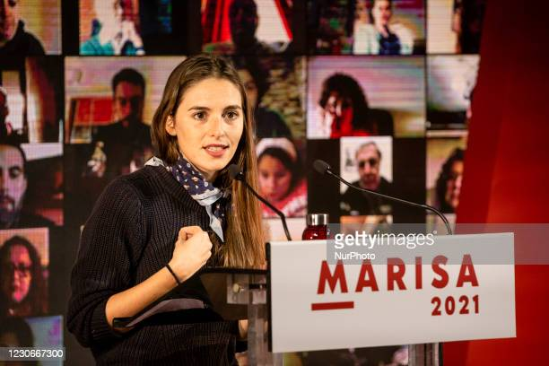 Actress Sara Barros Leitao attends Marisa Matias, candidate for the presidency of Bloco de Esquerda, in a Virtual Rally, attended by several...