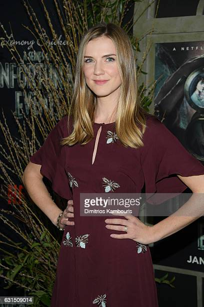 Actress Sara Canning attends the Lemony Snicket's a Series of Unfortunate Events screening at AMC Lincoln Square Theater on January 11 2017 in New...
