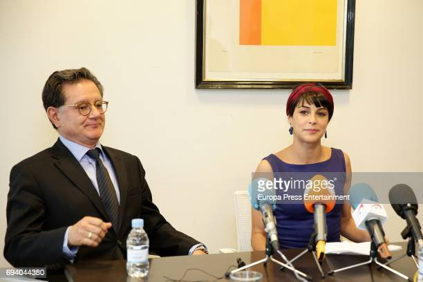 Actress Sara Casasnovas attends a presss conference after knowing that Arndt Meyer the German stalker of celebrities who tried to murder her with a...
