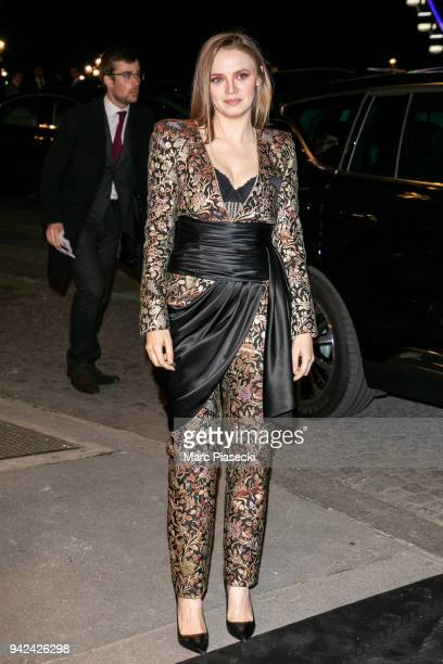 Actress Sara Forestier arrives to attend the 'Madame Figaro' dinner at Automobile Club de France on April 5 2018 in Paris France