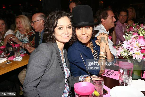 Actress Sara Gilbert and producer/musician Linda Perry attend Power of Pink 2014 Benefiting the Cancer Prevention Program at Saint John's Health...