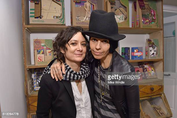 Actress Sara Gilbert and singer Linda Perry attend the Grand Opening Of Au Fudge Presented By Amazon Family on March 1 2016 in West Hollywood...