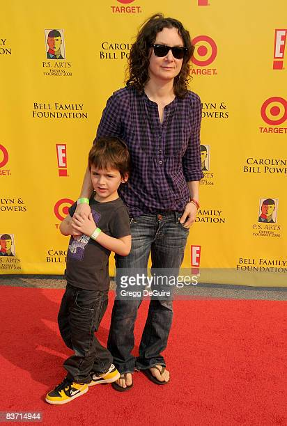 Actress Sara Gilbert and Son Levi arrive at the 11th Anniversary Of PS Arts Express Yourself 2008 at the Barker Hanger at the Santa Monica Airport on...