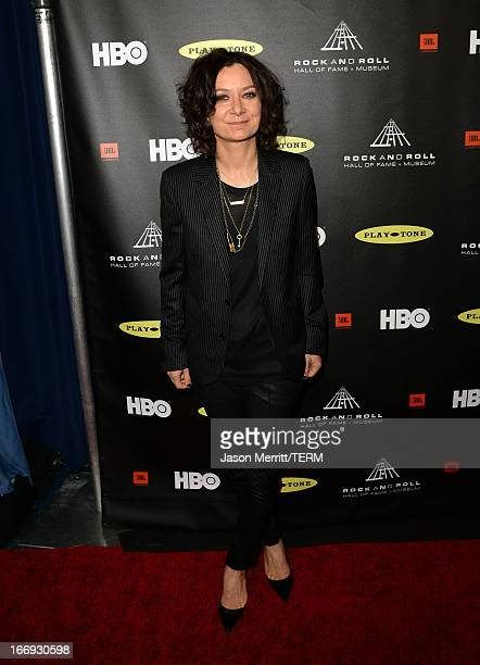 Actress Sara Gilbert arrives at the 28th Annual Rock and Roll Hall of Fame Induction Ceremony at Nokia Theatre LA Live on April 18 2013 in Los...