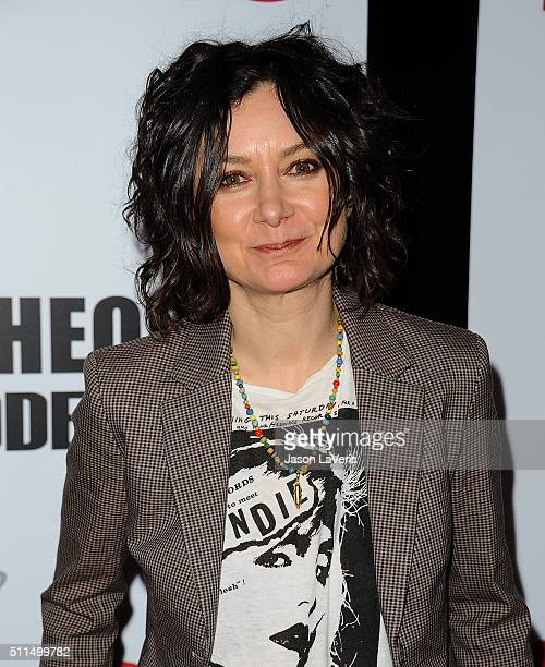 """Actress Sara Gilbert attends """"The Big Bang Theory"""" 200th episode celebration at Vibiana on February 20, 2016 in Los Angeles, California."""