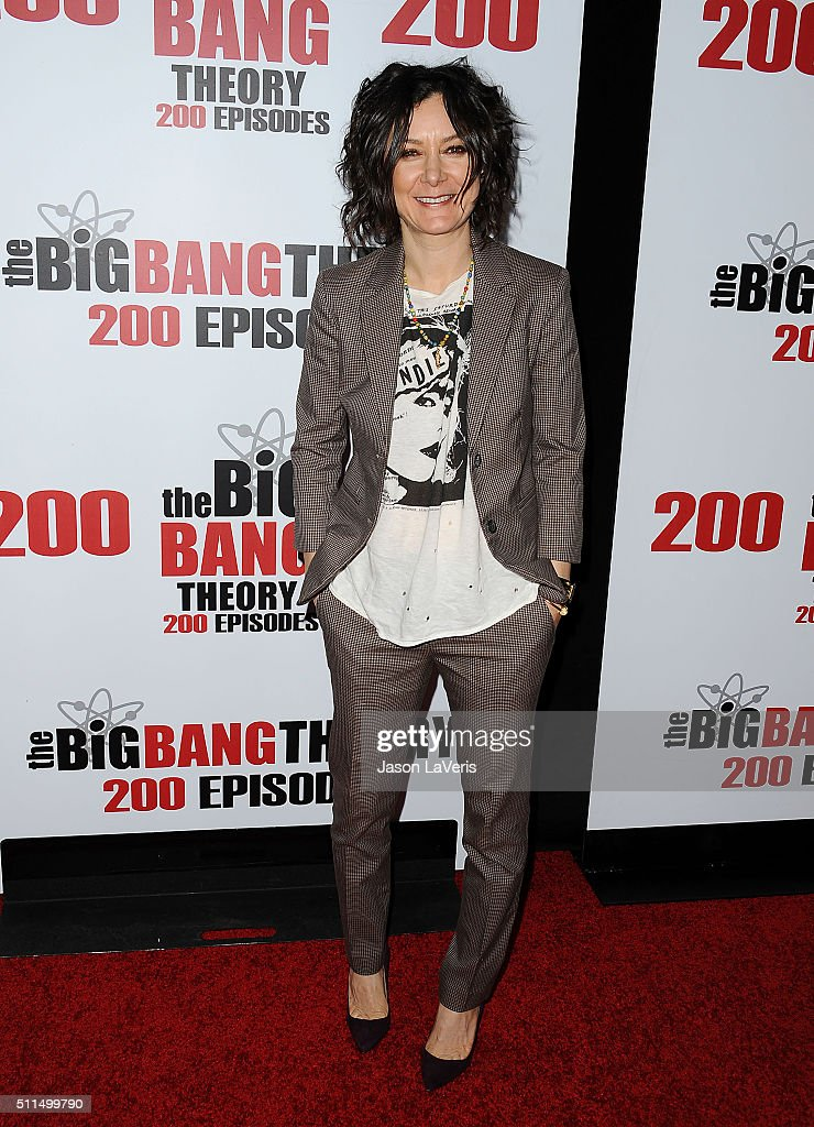 Actress Sara Gilbert attends 'The Big Bang Theory' 200th episode celebration at Vibiana on February 20, 2016 in Los Angeles, California.