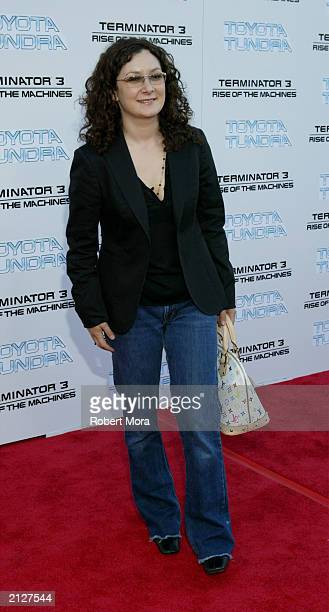 Actress Sara Gilbert attends the world premiere of Terminator 3 Rise of the Machines at the Mann VillageTheater June 30 2003 in Westwood California