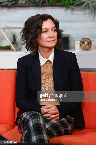 """Actress Sara Gilbert visits BuzzFeed's """"AM To DM"""" on September 19, 2019 in New York City."""