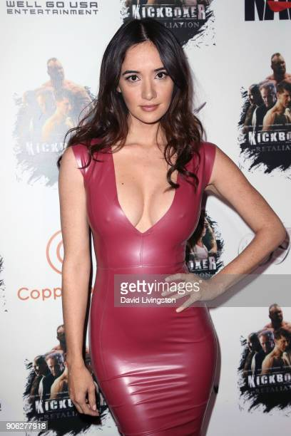 Actress Sara Malakul Lane attends the premiere of Well Go USA Entertainment's Kickboxer Retaliation at ArcLight Cinemas on January 17 2018 in...
