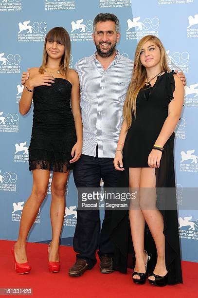 Actress Sara Podda with director Salvatore Mereu and actress Maya Mulas attend the Bellas Mariposas Photocall during the 69th Venice Film Festival at...