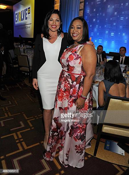 Actress Sara Ramirez and Honoree Shonda Rhimes attend the Human Rights Campaign Los Angeles Gala 2015 at JW Marriott Los Angeles at LA LIVE on March...
