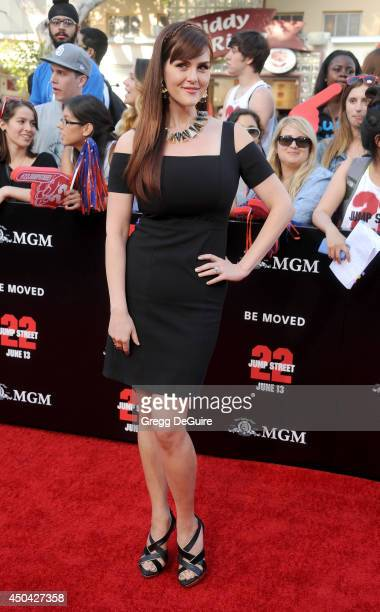 Actress Sara Rue arrives at the Los Angeles premiere of 22 Jump Street at Regency Village Theatre on June 10 2014 in Westwood California
