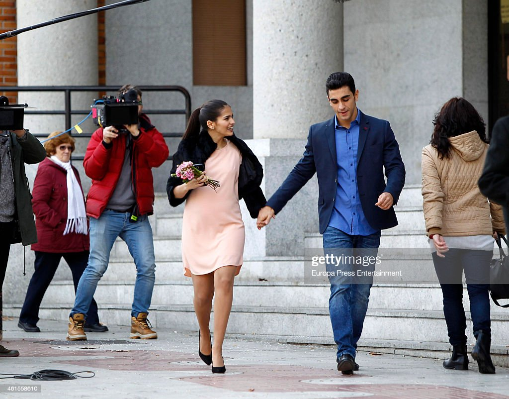 Actress Sara Salamo And Actor Cesar Mateo Are Seen On The Set