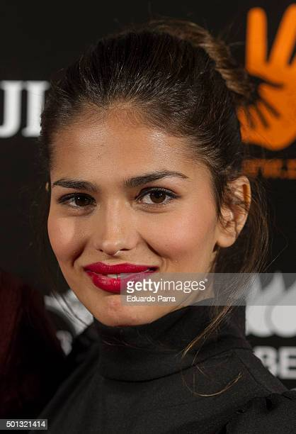 Actress Sara Salamo attends Mudi charity gala photocall at Hilto hotel on December 14 2015 in Madrid Spain