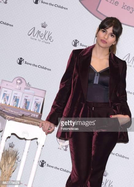 Actress Sara Salamo presents the Anneke Dreams Project charity keyrings at Platea on November 30 2017 in Madrid Spain