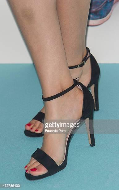 Actress Sara Salamo shoes detail attends 'Requisitos para ser una persona normal' premiere at Palafox cinema on June 3 2015 in Madrid Spain