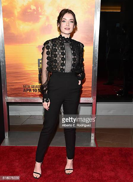 Actress Sarah Bolger attends the premiere of AMC's Fear The Walking Dead Season 2 at Cinemark Playa Vista on March 29 2016 in Los Angeles California