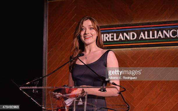 Actress Sarah Bolger speaks at the 9th Annual 'Oscar Wilde Honoring The Irish In Film' PreAcademy Awards event at Bad Robot on February 27 2014 in...