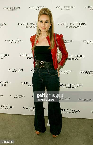 Actress Sarah Carter in the front row at the Collection Bebe 2007 fashion show during Mercedes Benz Fashion Week held at Smashbox Studios on March 18...