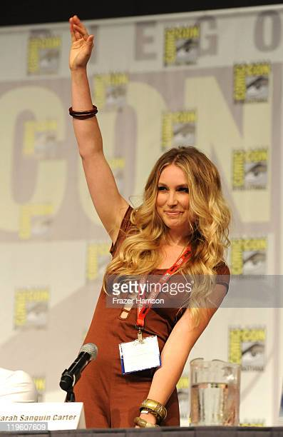 Actress Sarah Carter speaks at TNT's Falling Skies panel during Comic-Con 2011 at the Comic-Con Conference Center on July 22, 2011 in San Diego,...