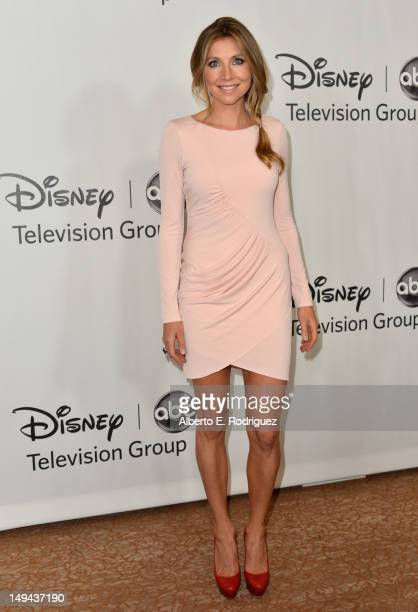 Actress Sarah Chalke arrives to the Disney ABC Television Group's 2012 TCA Summer Press Tour on July 27 2012 in Beverly Hills California