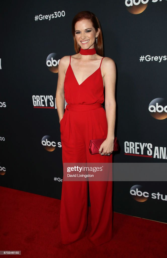 Actress Sarah Drew attends the 300th episode celebration for ABC's 'Grey's Anatomy' at TAO Hollywood on November 4, 2017 in Los Angeles, California.