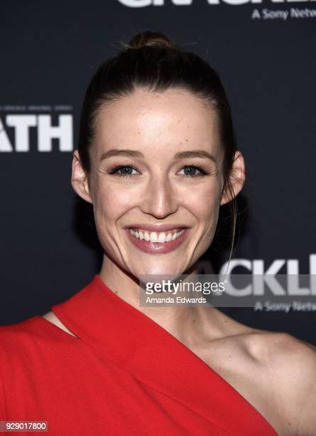 Actress Sarah Dumont arrives at Crackle's The Oath premiere at Sony Pictures Studios on March 7 2018 in Culver City California