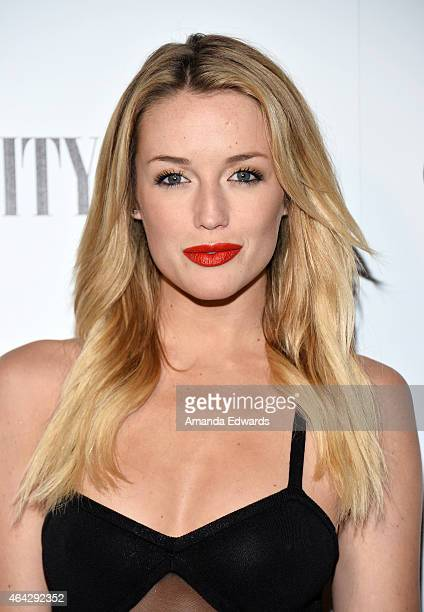 Actress Sarah Dumont arrives at the Vanity Fair and L'Oreal Paris Girl Rising benefit at 1 OAK on February 20 2015 in West Hollywood California