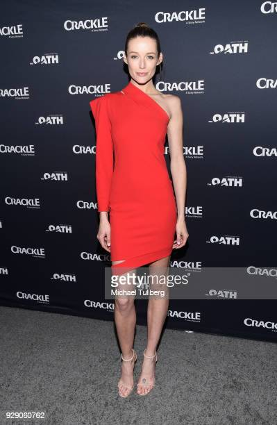 Actress Sarah Dumont attends the premiere of Crackle's The Oath at Sony Pictures Studios on March 7 2018 in Culver City California