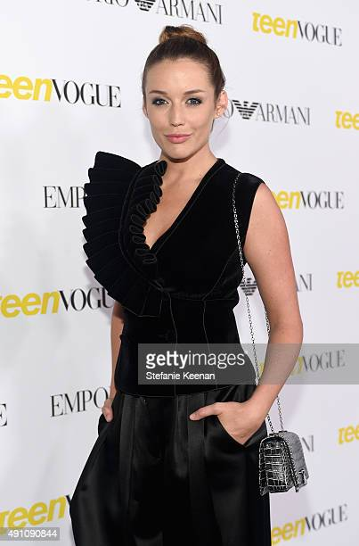 Actress Sarah Dumont wearing Emporio Armani attends Teen Vogue Celebrates the 13th Annual Young Hollywood Issue with Emporio Armani on October 2 2015...