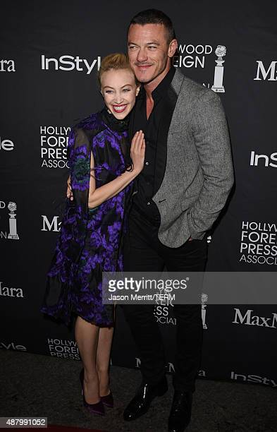 Actress Sarah Gadon and actor Luke Evans attend the InStyle HFPA party during the 2015 Toronto International Film Festival at the Windsor Arms Hotel...