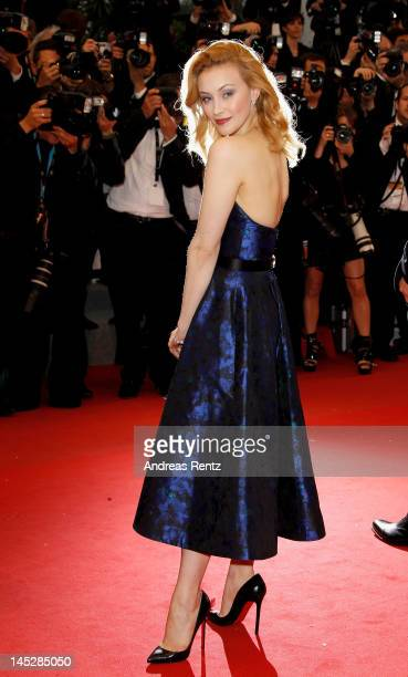 Actress Sarah Gadon attends the 'Cosmopolis' premiere during the 65th Annual Cannes Film Festival at Palais des Festivals on May 25 2012 in Cannes...