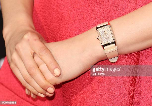 Actress Sarah Gadon watch detail attends the premiere of Hulu's '112263' on February 11 2016 in Westwood California