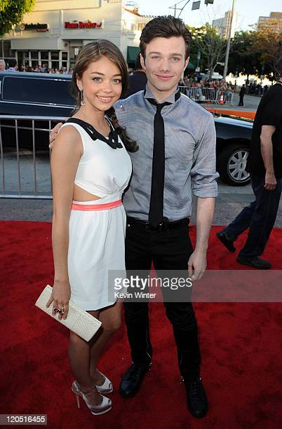 Actress Sarah Hyland and actor Chris Colfer arrive at the premiere of Twentieth Century Fox's 'Glee The 3D Concert Movie' held at the Regency Village...