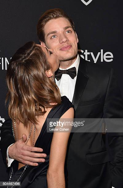 Actress Sarah Hyland and actor Dominic Sherwood attend InStyle and Warner Bros 73rd Annual Golden Globe Awards PostParty at The Beverly Hilton Hotel...