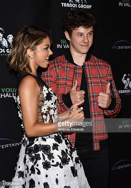 """Actress Sarah Hyland and actor Nolan Gould arrive at the Los Angeles premiere of """"See You In Valhalla"""" at the ArcLight Cinemas on April 21, 2015 in..."""