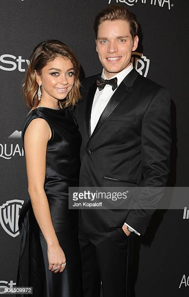 Actress Sarah Hyland and Dominic Sherwood arrive at the 2016 InStyle And Warner Bros 73rd Annual Golden Globe Awards PostParty at The Beverly Hilton...