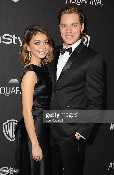 Actress Sarah Hyland and Dominic Sherwood arrive at the 2016 InStyle And Warner Bros. 73rd Annual Golden Globe Awards Post-Party at The Beverly...