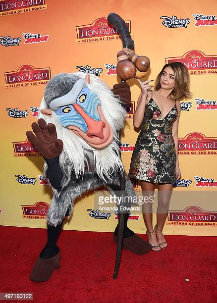 """Actress Sarah Hyland and Rafiki arrive at the premiere of Disney Channel's """"The Lion Guard: Return Of The Roar"""" at Walt Disney Studios on November..."""