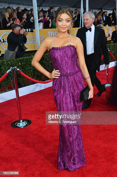 Actress Sarah Hyland arrives at the 19th Annual Screen Actors Guild Awards held at The Shrine Auditorium on January 27, 2013 in Los Angeles,...