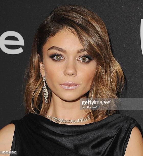 Actress Sarah Hyland arrives at the 2016 InStyle And Warner Bros 73rd Annual Golden Globe Awards PostParty at The Beverly Hilton Hotel on January 10...