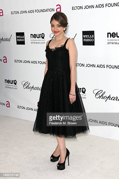 Actress Sarah Hyland arrives at the 20th Annual Elton John AIDS Foundation's Oscar Viewing Party held at West Hollywood Park on February 26 2012 in...