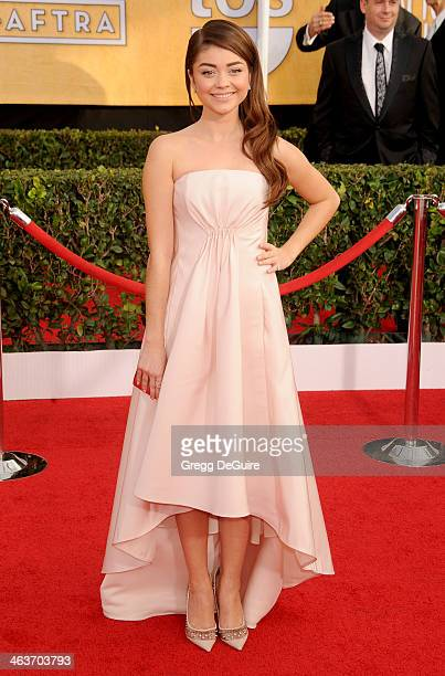 Actress Sarah Hyland arrives at the 20th Annual Screen Actors Guild Awards at The Shrine Auditorium on January 18 2014 in Los Angeles California