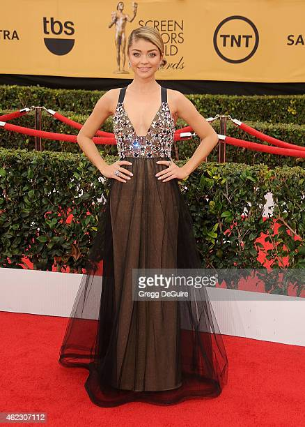 Actress Sarah Hyland arrives at the 21st Annual Screen Actors Guild Awards at The Shrine Auditorium on January 25 2015 in Los Angeles California