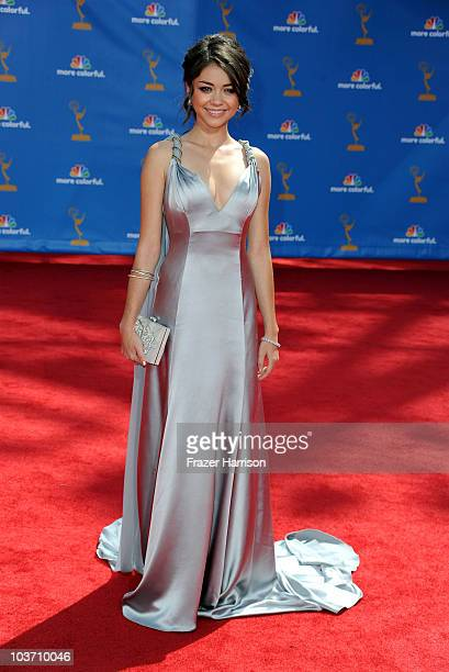 Actress Sarah Hyland arrives at the 62nd Annual Primetime Emmy Awards held at the Nokia Theatre LA Live on August 29 2010 in Los Angeles California